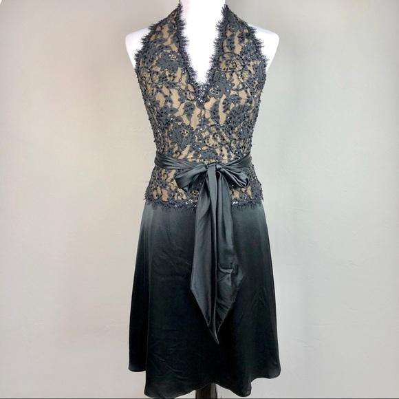 dbe5373999e6 Tadashi Shoji Dresses   Tadashi Silk Beaded Lace Halter Black Dress ...